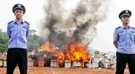 پلیس چین 1000 کنسول بازی را در آتش سوزاند !